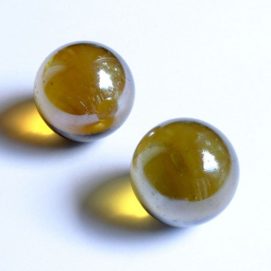 Glasmurmeln gelb irisierend 35mm