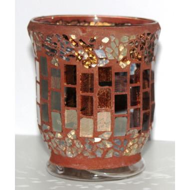 Windlicht Glas-Mosaik braun