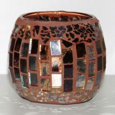 Windlicht Glas-Mosaik braun klein