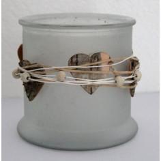 Windlicht Glas mit Birkenherzen