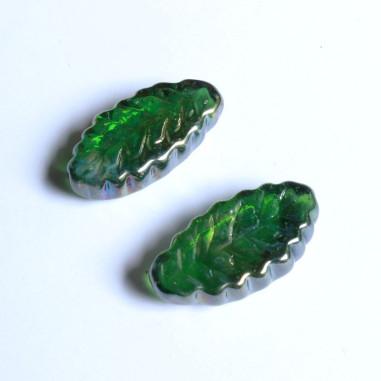 Glasnuggets Blatt lang grün irisierend