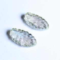 Glasnuggets Blatt lang klar irisierend