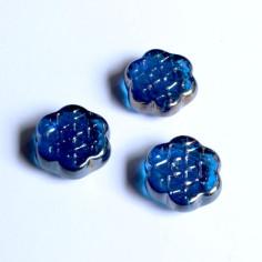 Glasnuggets Eiskristalle dunkelblau irisierend