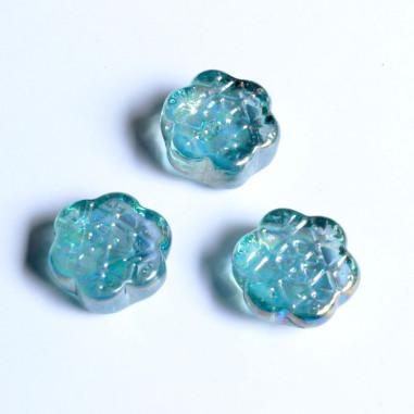 Glasnuggets Eiskristalle hellblau irisierend