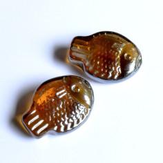 Glasnuggets Fisch rund amber irisierend