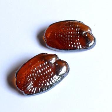 Glasnuggets Fisch lang amber irisierend