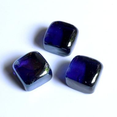 Glasnuggets Quadrat dunkelblau irisierend