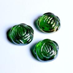 Glasnuggets Rosen grün irisierend