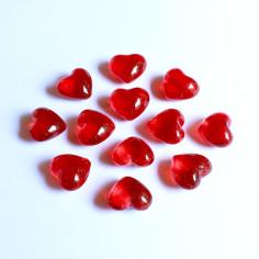 Glas-Herzen rot klar