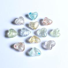Glas-Herzen silber/gestreifft