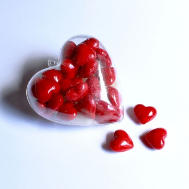 Glas-Herzen rot in Herz-Box