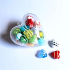 Glas-Herzen gemischt in Herz-Box