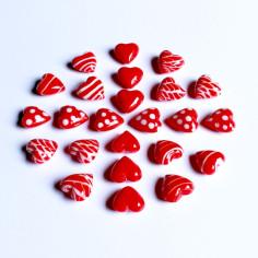 Glas-Herzen rote Designs