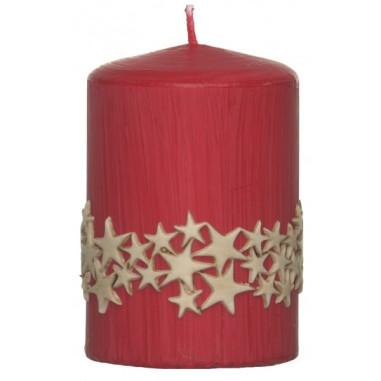 Weihnachtskerze Sternenzauber rot