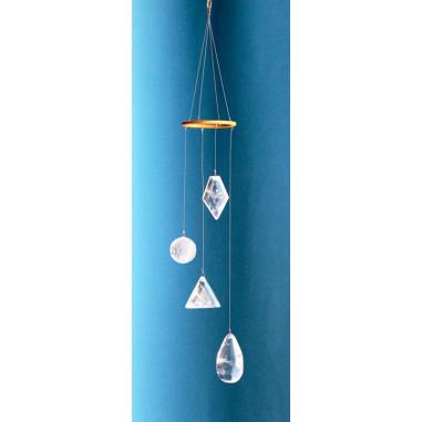 Mobile Spirale mit Bergkristall Lichtkristallen