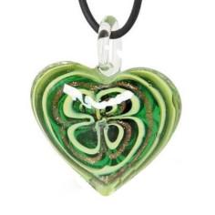 Halskette Amulett Glasherz grün