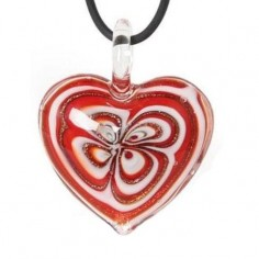 Halskette Amulett Glasherz rot