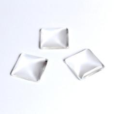 Cabochon quadratisch Kristallglas 25mm