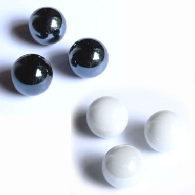 Glasmurmeln 25mm schwarz/weiss opak