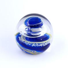 Briefbeschwerer Glas blau gelb klein