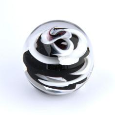 Briefbeschwerer Glas Spirale schwarz weiss