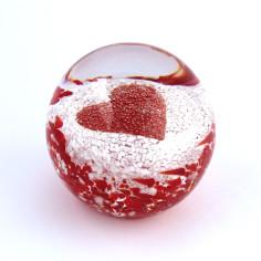 Briefbeschwerer Glas rotes Herz
