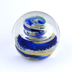 Briefbeschwerer Glas blau gelb mittel