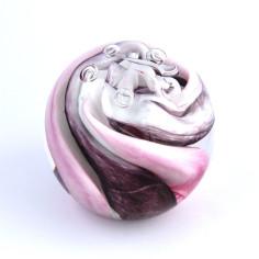 Briefbeschwerer Glas violet rose weiss