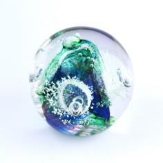 Briefbeschwerer Glas grün blau weiss