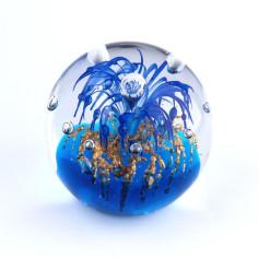 Briefbeschwerer Glas blau gold