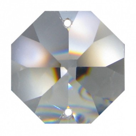 Facettierte Glaskristalle Octagon 2-Loch 14 mm B