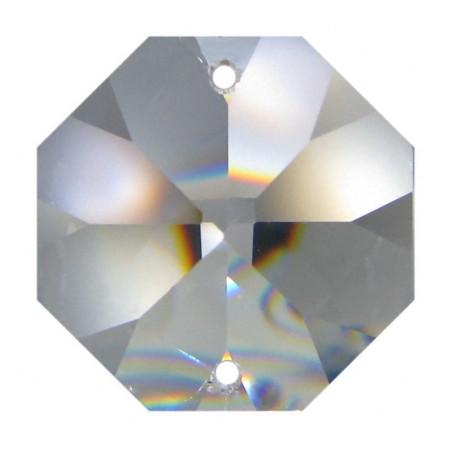 Facettierte Glaskristalle Octagon 2-Loch 18 mm B