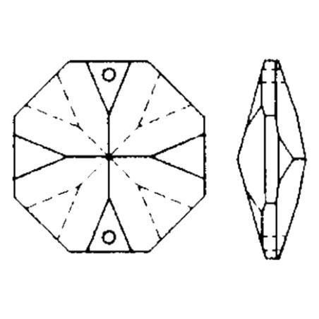 Facettierte Glaskristalle Octagon 2-Loch 24 mm B
