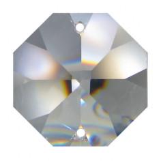 Facettierte Glaskristalle Octagon 2-Loch 32 mm B