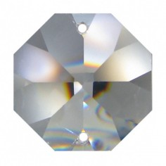 Facettierte Glaskristalle Octagon 2-Loch 40 mm B