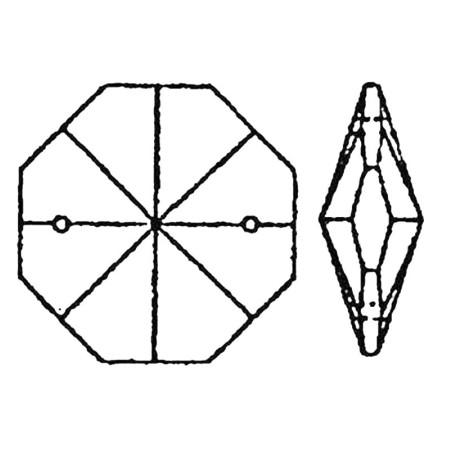 Facettierte Glaskristalle Octagon-Stern 2-Loch 12mm bleifrei B