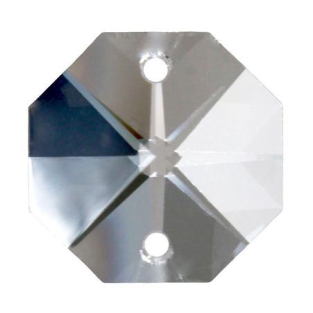 Facettierte Glaskristalle Octagon-Stern 2-Loch 14 mm bleifrei B