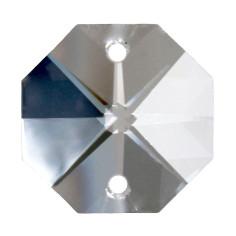 Facettierte Glaskristalle Octagon-Stern 2-Loch 16 mm bleifrei B