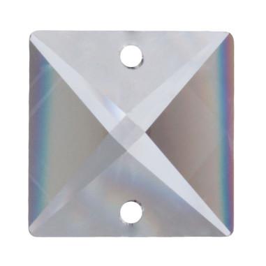 Facettierte Glaskristalle Quadrat 2-Loch 18 mm B