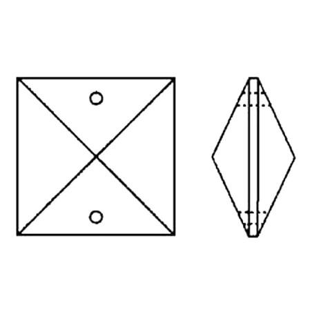 Facettierte Glaskristalle Quadrat 2-Loch 20 mm B