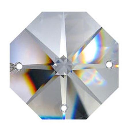 Facettierte Glaskristalle Octagon-Stern 3-Loch 14 mm bleifrei B