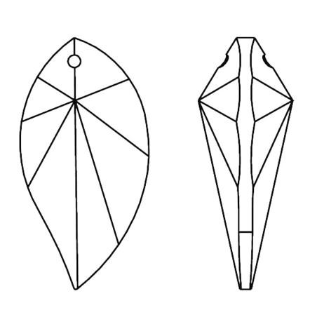 Facettierte Glaskristalle Swarovski Leaf 28 mm