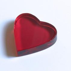 Kristallglasherz rot 40 x 40 x 9 mm