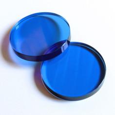 Kristallglasscheibe rund blau 60 mm
