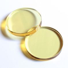 Kristallglasscheibe rund gelb 60 mm